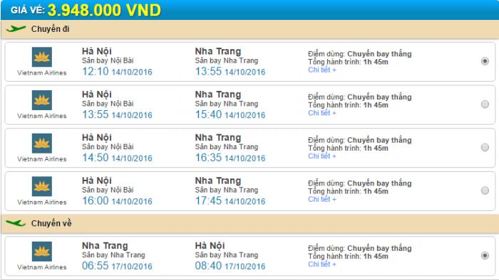 Hà Nội đi Nha Trang Vietnam Airlines