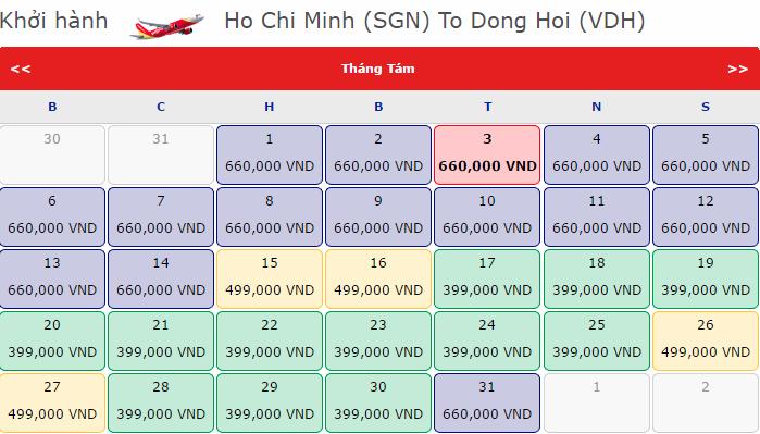 vé máy bay đi Đồng Hới giá rẻ tháng 8