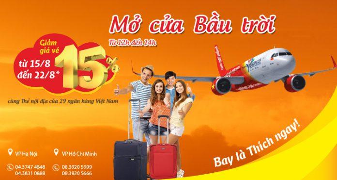 Giảm tới 15% vé Vietjet Air khi thanh toán bằng thẻ ngân hàng Việt Nam