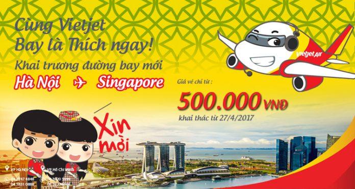 Vietjet Air mở đường bay mới Hà Nội - Singapore giá chỉ từ 500 000đ