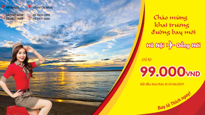 Vé Vietjet Air ưu đãi chỉ từ 99 000đ chào đường bay mới Hà Nội - Đồng Hới