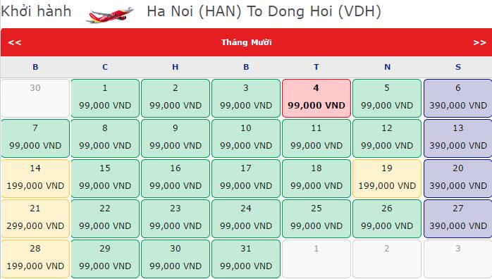 vé máy bay đi Đồng Hới giá rẻ tháng 10