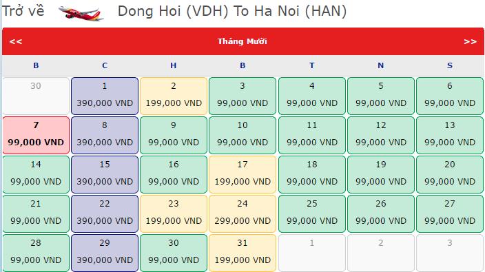 vé máy bay chiều về Hà Nội - Đồng hới chỉ từ 99k