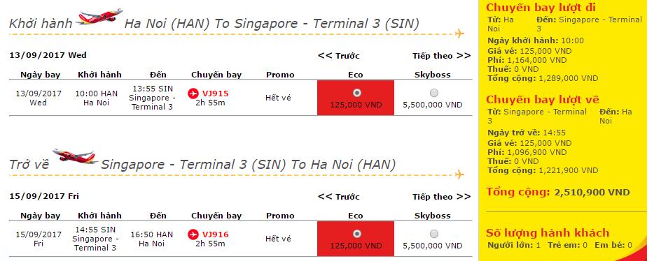 vé Hà Nội - Singapore chỉ từ 125 000đ
