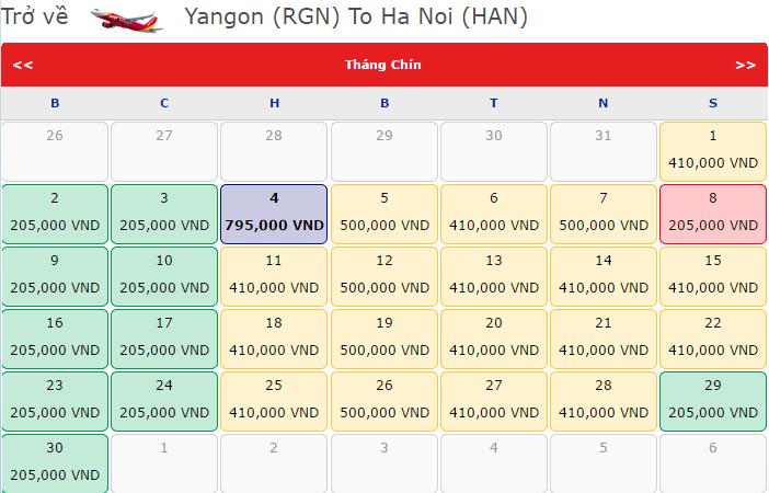 vé máy bay về Yangon KM chỉ từ 205 000đ
