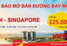 Ưu đãi cuối năm vé Vietjet Air chỉ từ 125 000đ đi Singapore từ Hà Nội