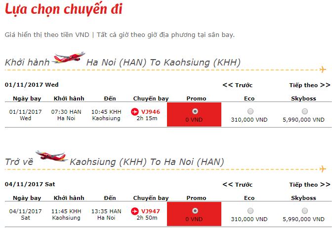 vé máy bay Hà Nội đi Cao Hùng