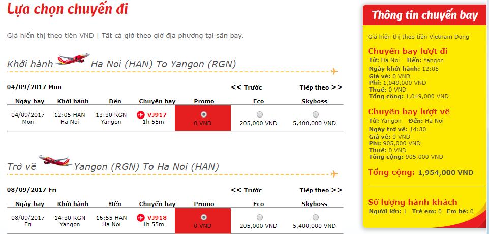 giá vé 0 đồng Hà Nội - Yangon