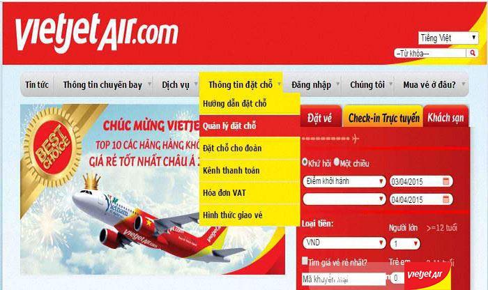 Truy cập vào website để làm thủ tục đổi vé