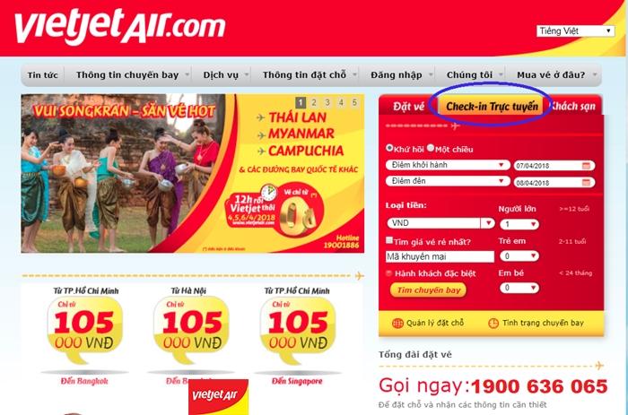 Check-in trực tuyến với Vietjet Air