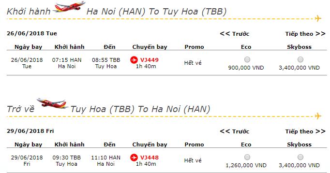 vé máy bay đi Phú Yên từ Hà Nội
