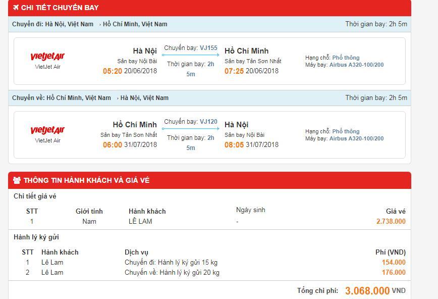 Thông tin chi tiết về chuyến bay
