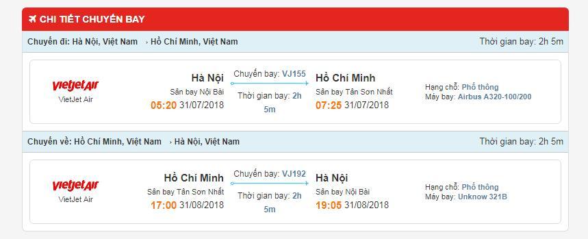 Thông tin hành trình chuyến bay