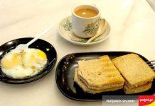 Bánh mỳ nướng Kaya và trứng lòng đào