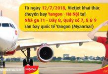 Vietjet Air chuyển sang khai thác chuyến bay Yangon- Hà Nội tại nhà ga T1